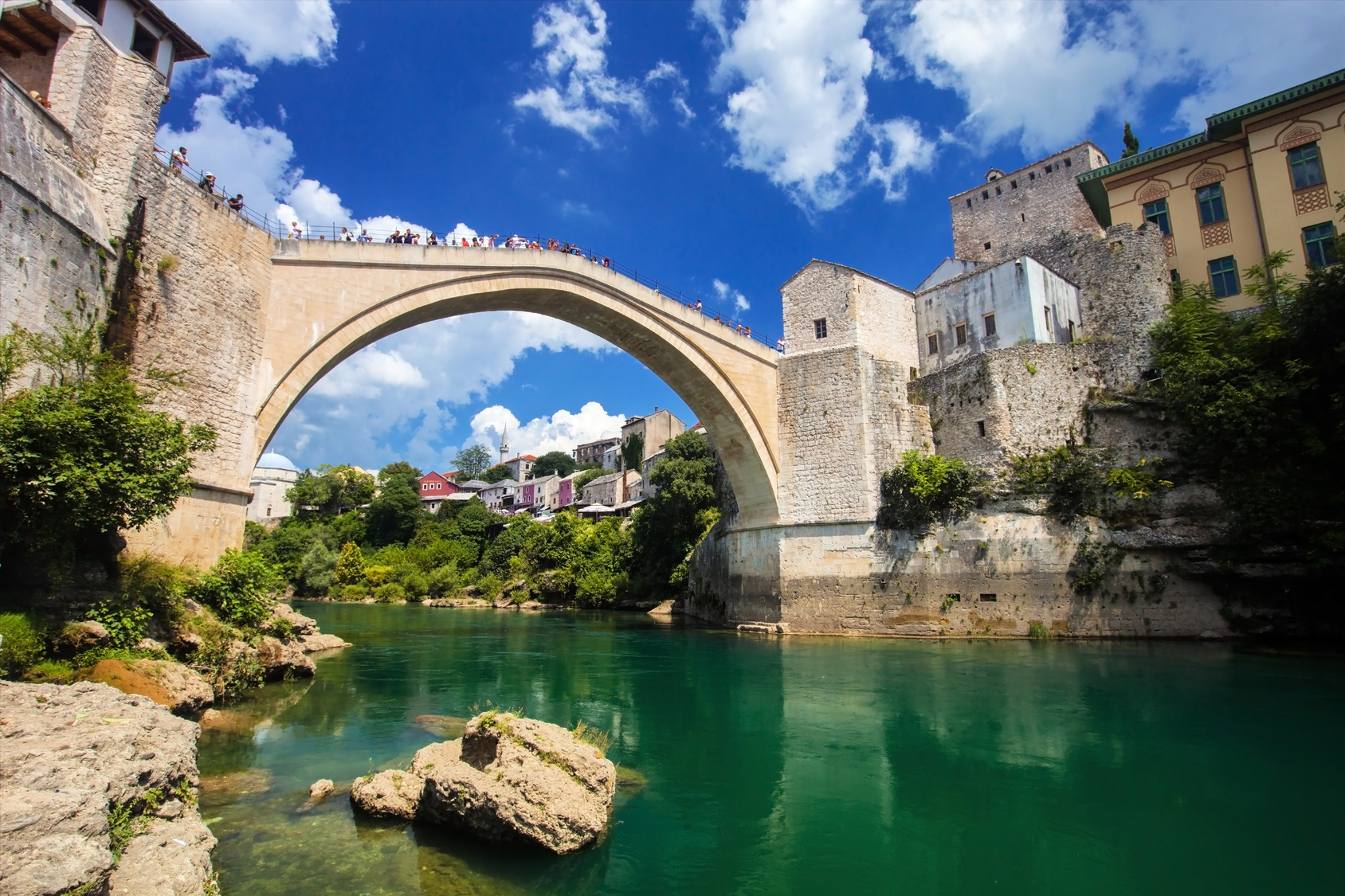 Reconstructed Old Bridge of Mostar in Bosnia-Herzegovina