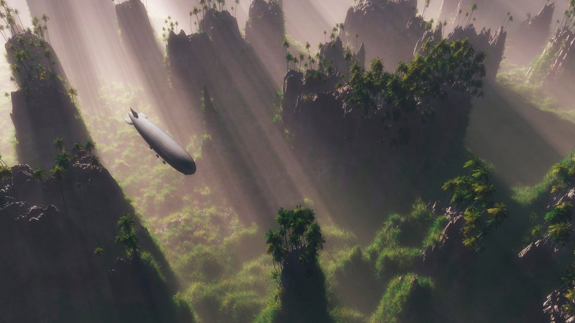 Airship flying over tropical mountain range with grass and palm trees at sunrise