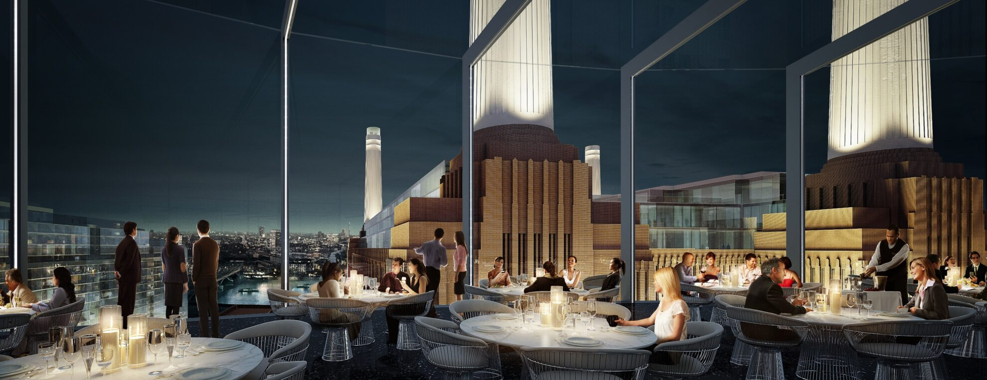 View from double height bar and restaurant across the London skyline and...