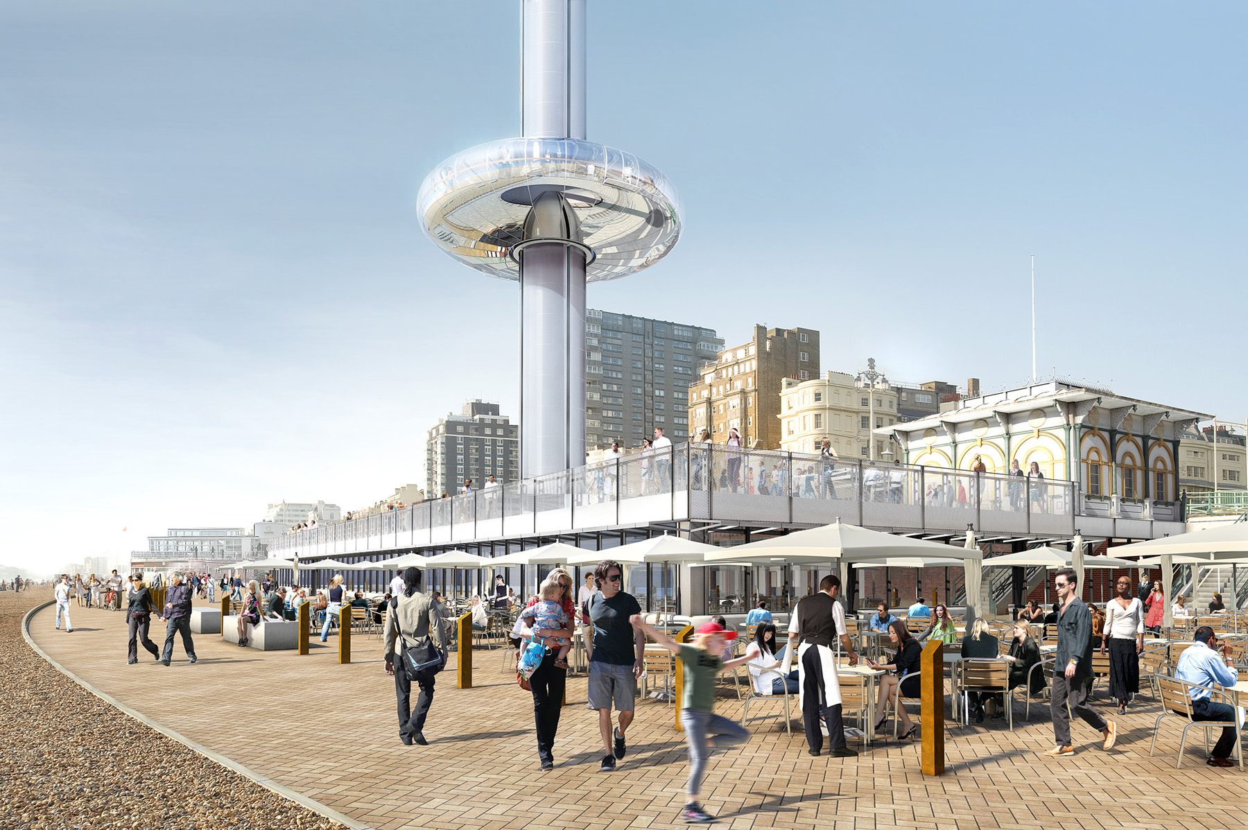 British Airways i360 beach building including brasserie - artists  impression