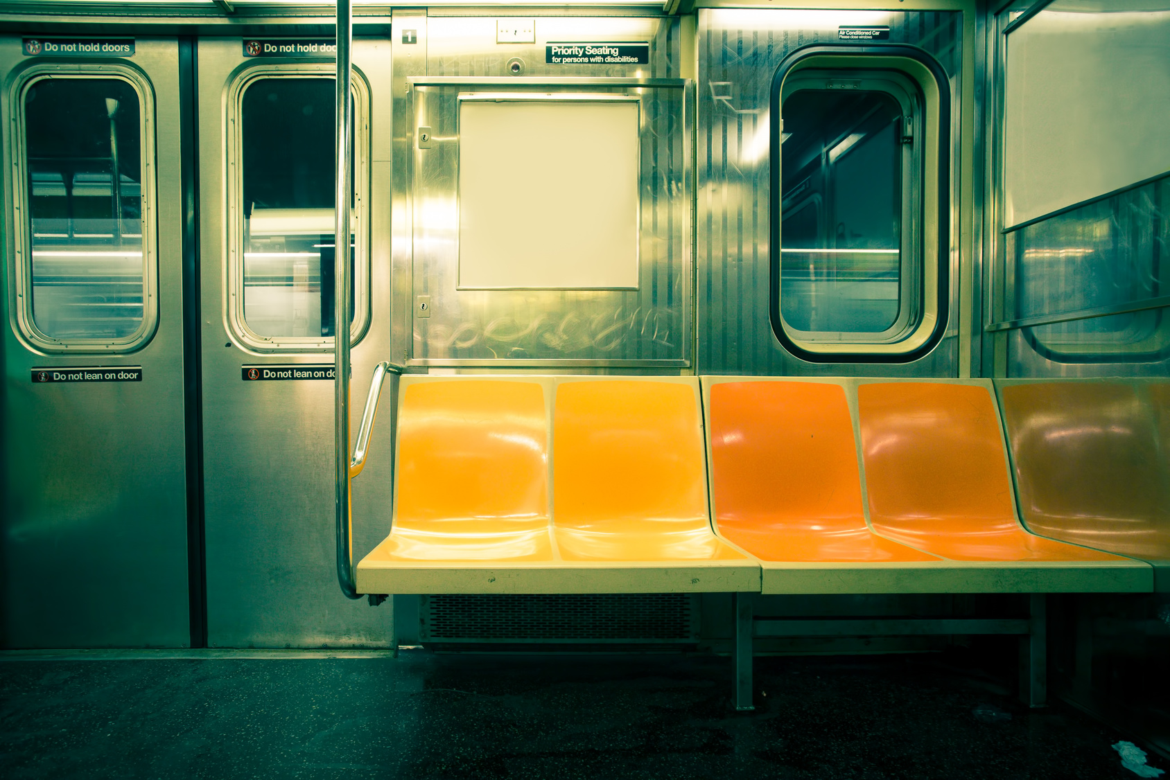 Vintage toned image of New York City subway car