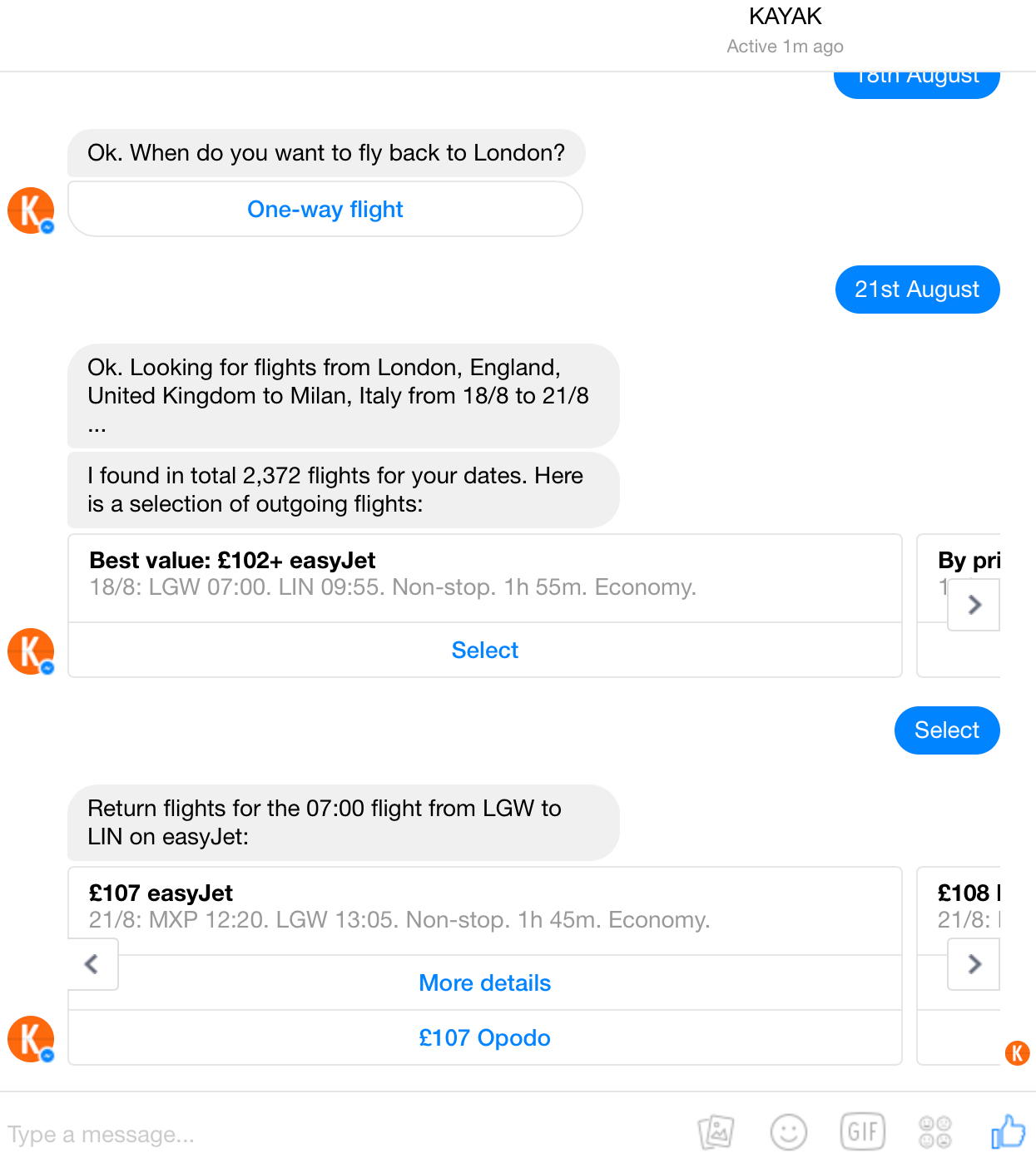 Kayak bot conversation 3