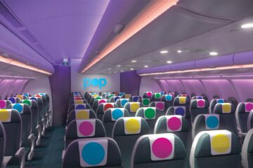 POP airline economy class cabin
