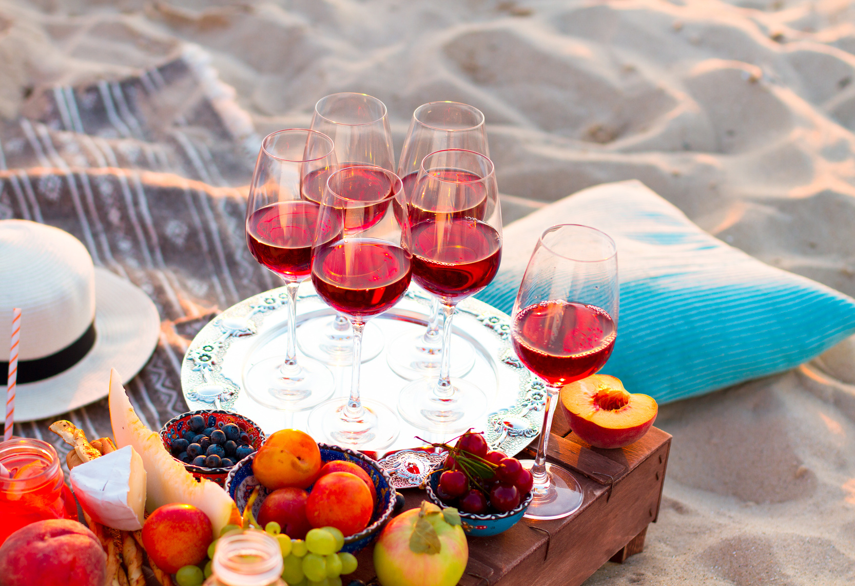 Authentic luxury trend beach picnic