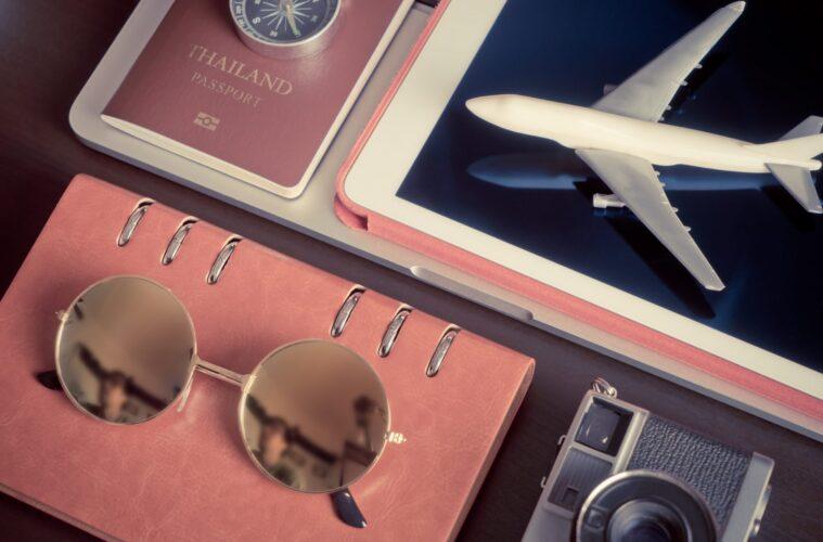 Hipster blogger travel equipment