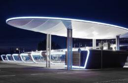 Futuristic station entrance
