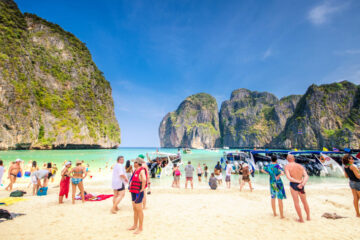 Overtourism on Thailand's May Bay beach