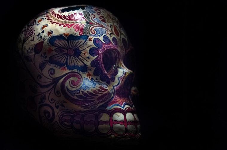 Dark tourism painted skull