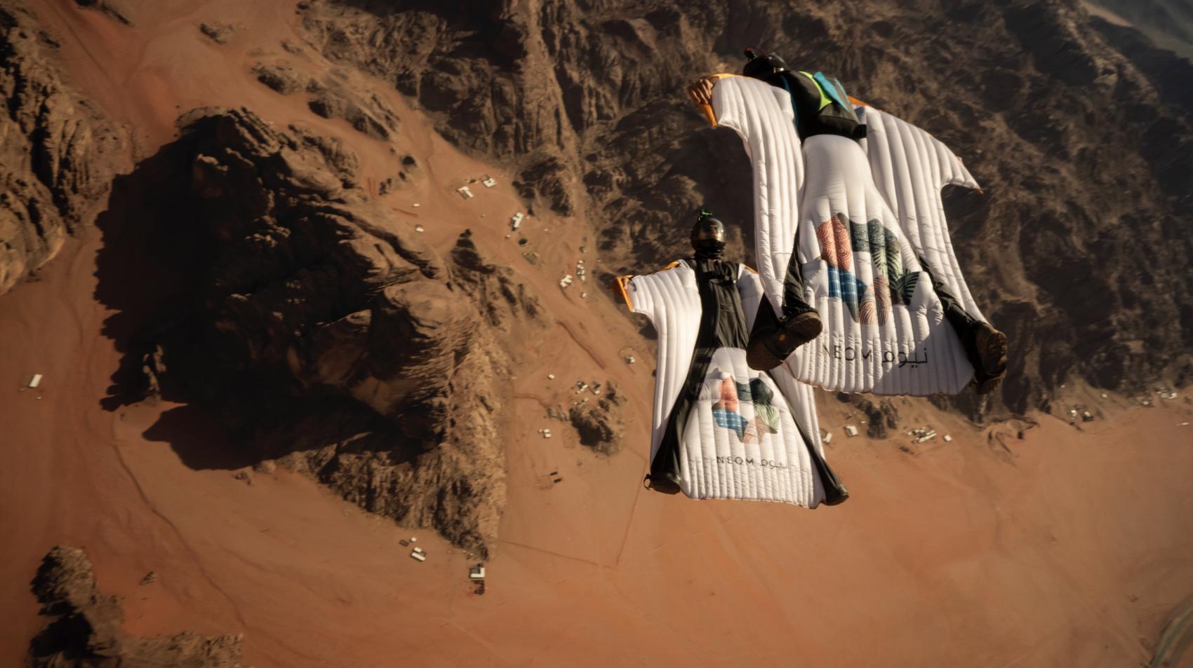 Neom wingsuit flyers, Saudi Arabia