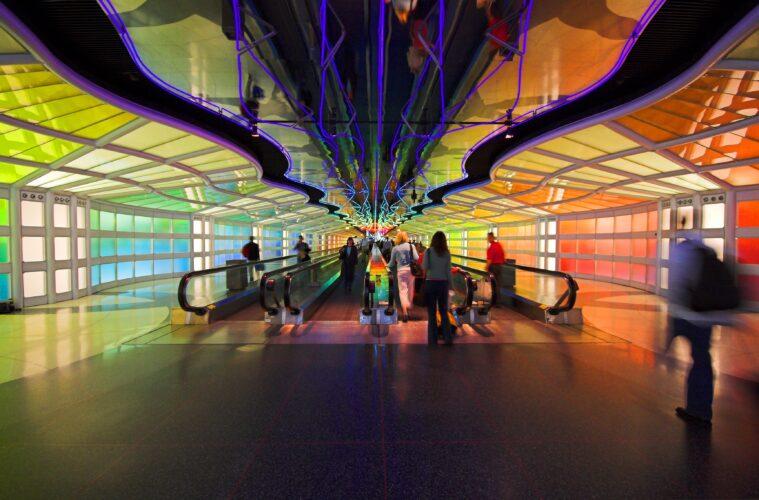 Futuristic rainbow walkway