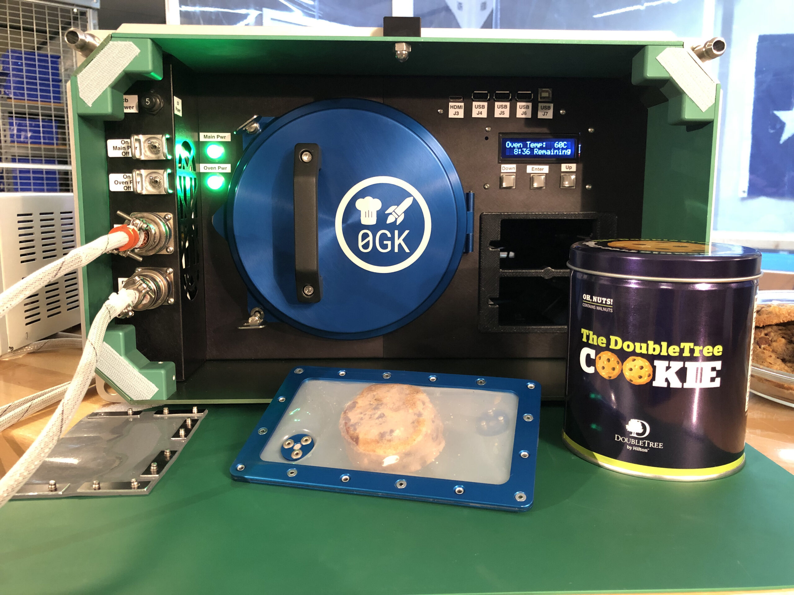 Doubletree hotel cookie baking on ISS in Zero G Space Oven