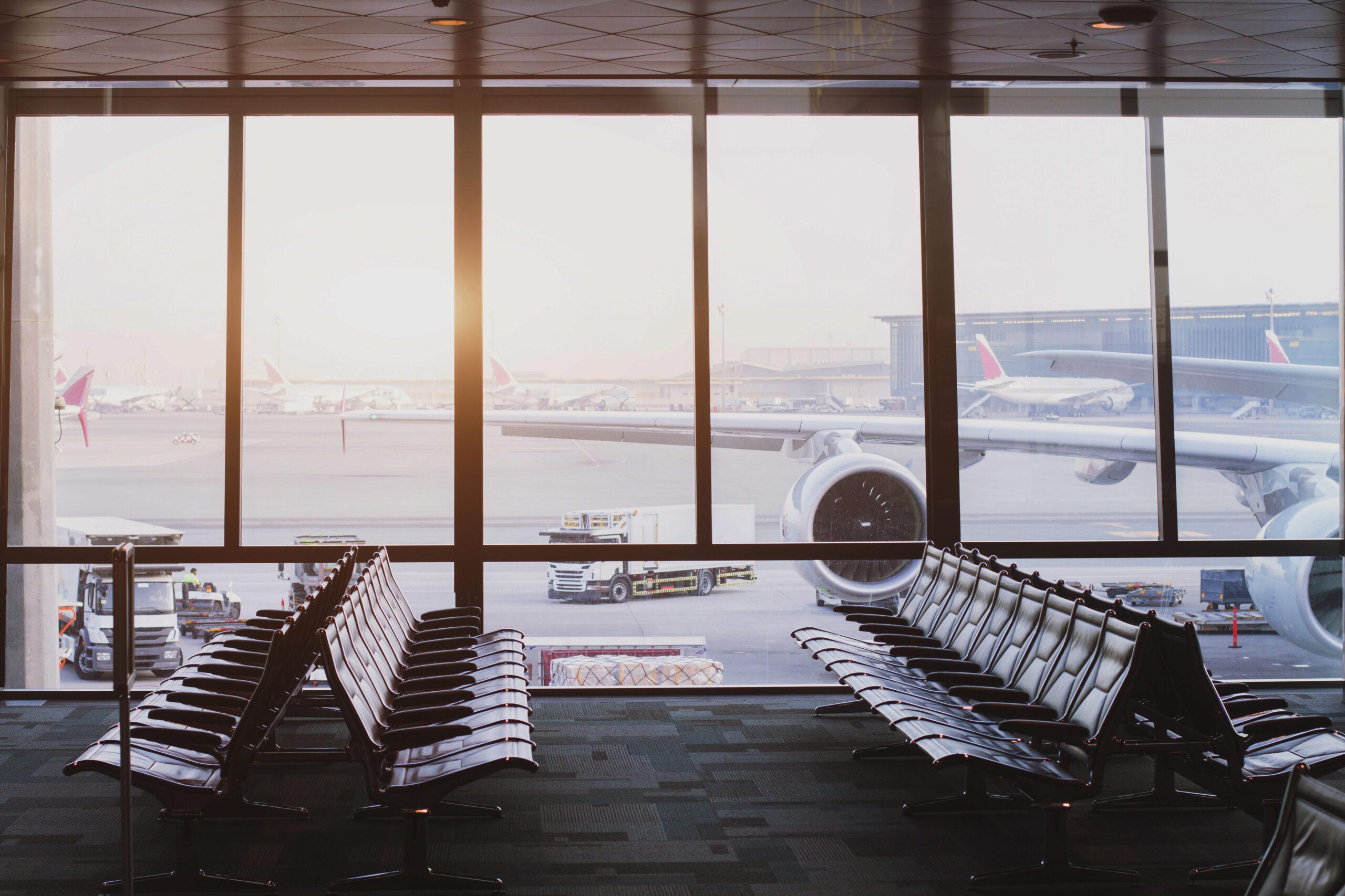 Empty airport departure terminal