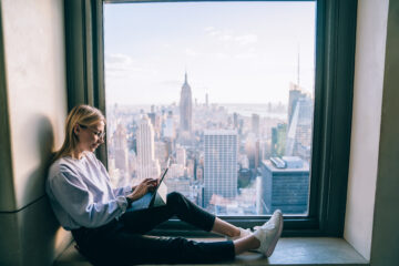 Remote working laptop woman New York