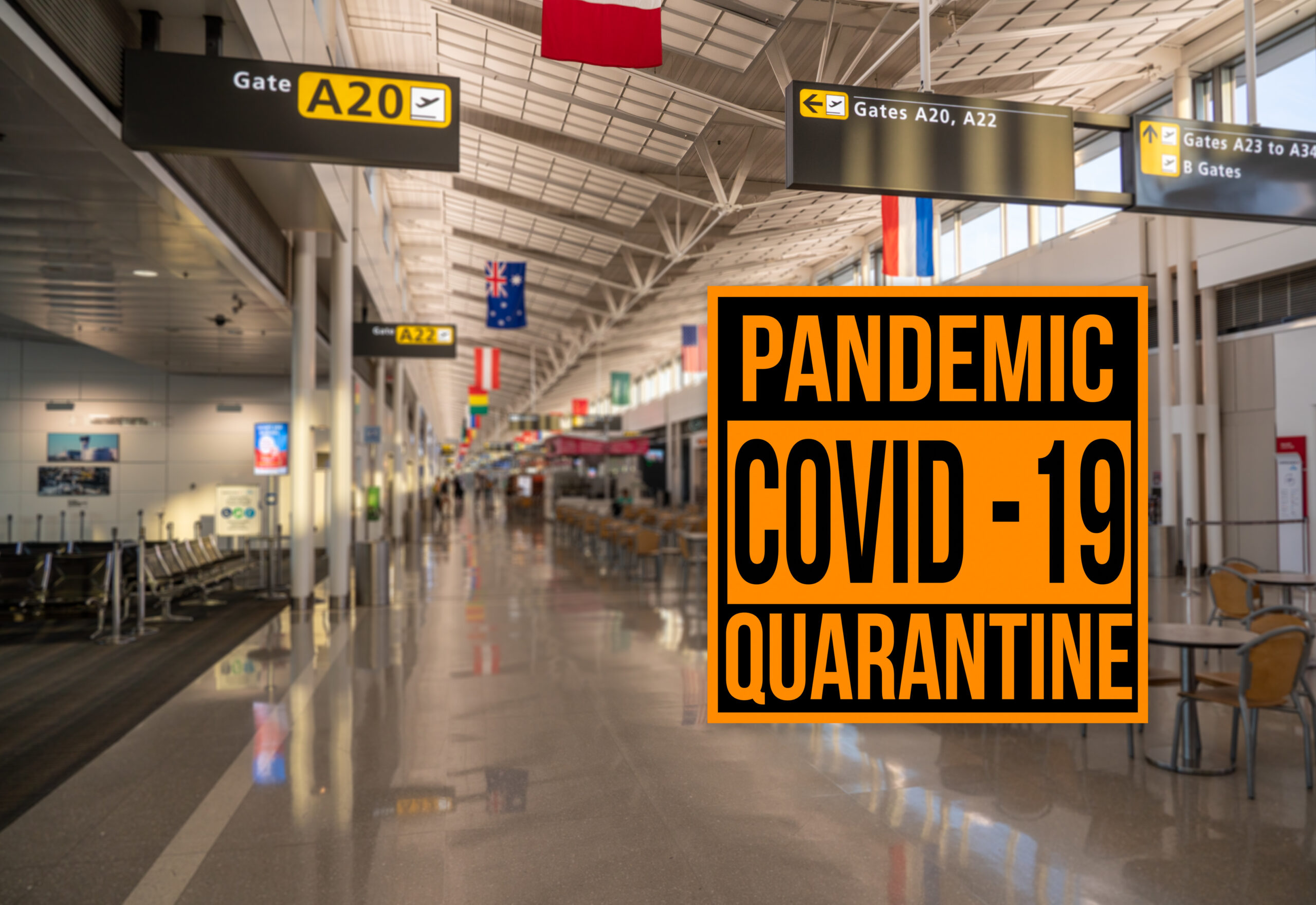 Pandemic sign warning of quarantine due to Covid-19 or coronavirus against aiport background