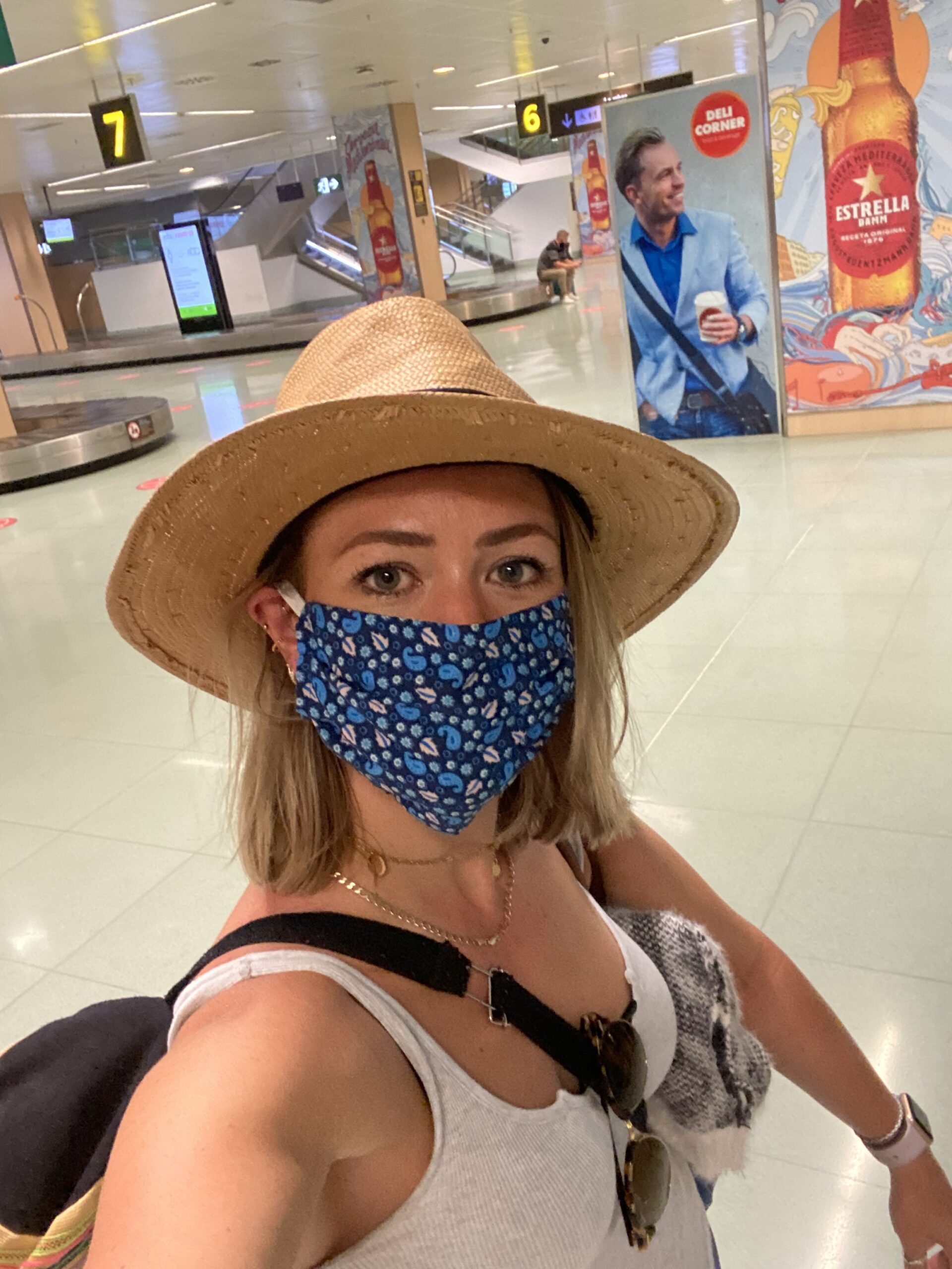 Wearing a face mask in the airport