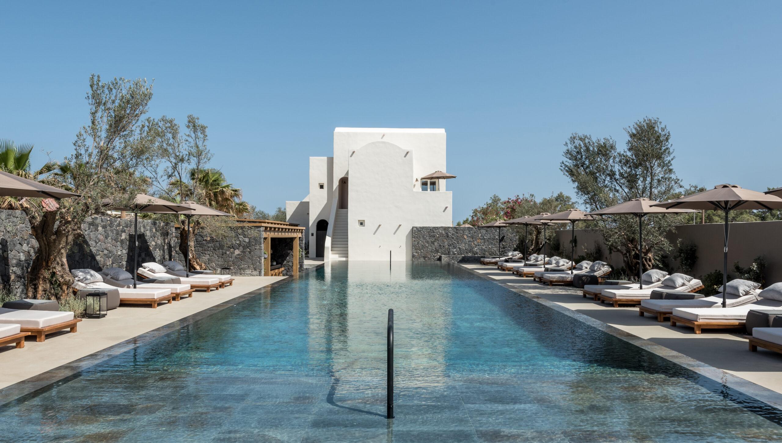 Istoria hotel outdoor swimming pool Santorini Greece luxury hotel villa travel