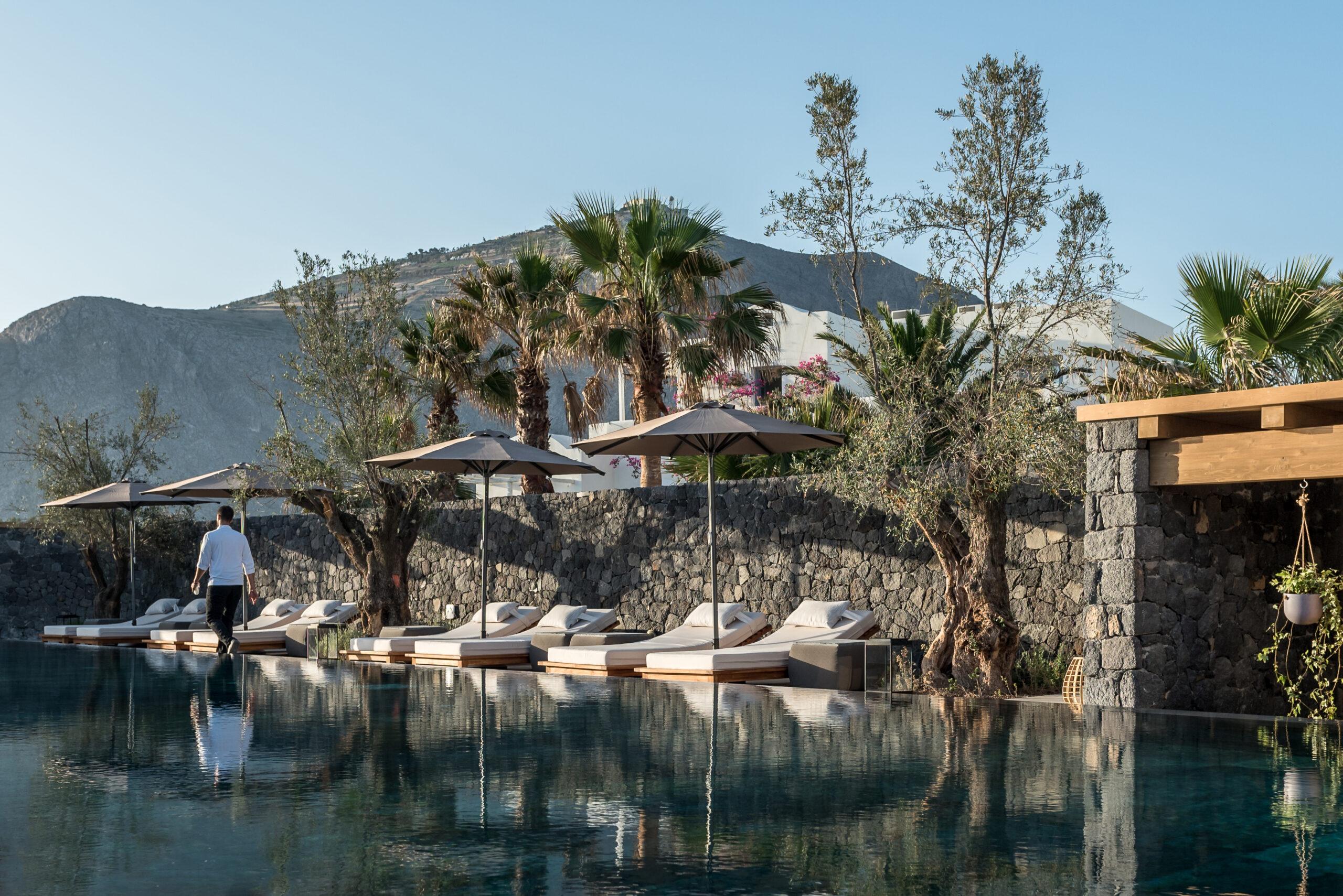 Outdoor swimming pool Istoria hotel Santorini Greece luxury villa hotel