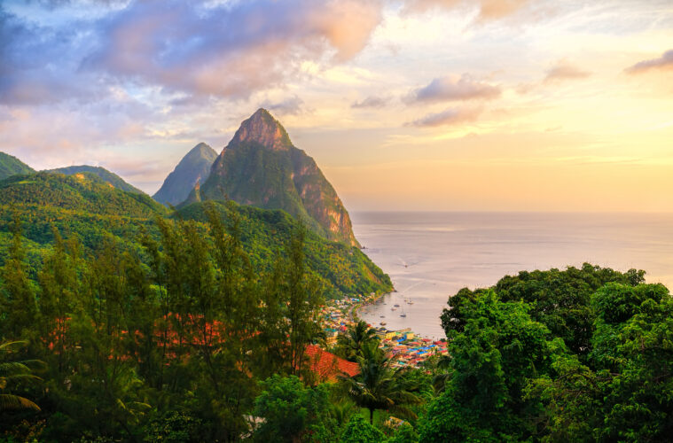 Sunrise over the pitons St Lucia