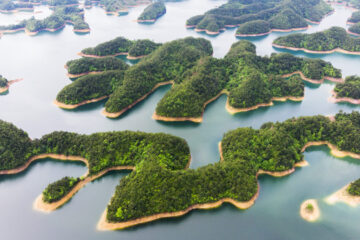 Aerial View of Thousand island lake. Bird view of Freshwater Qiandaohu. Sunken Valley in Chunan Country, Hangzhou, Zhejiang Province, China Mainland.
