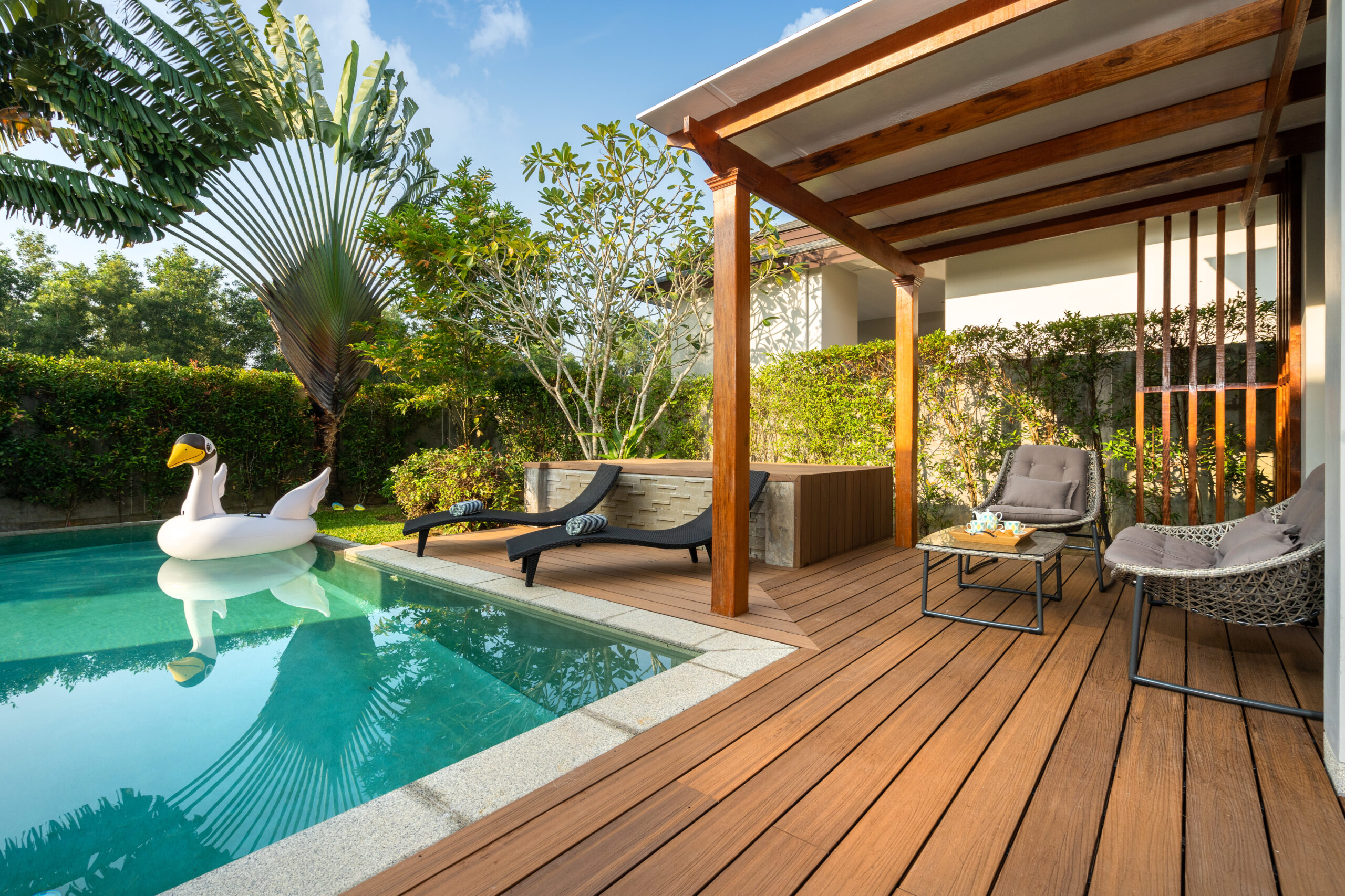 Swimming pool in tropical garden pool villa feature floating balloon
