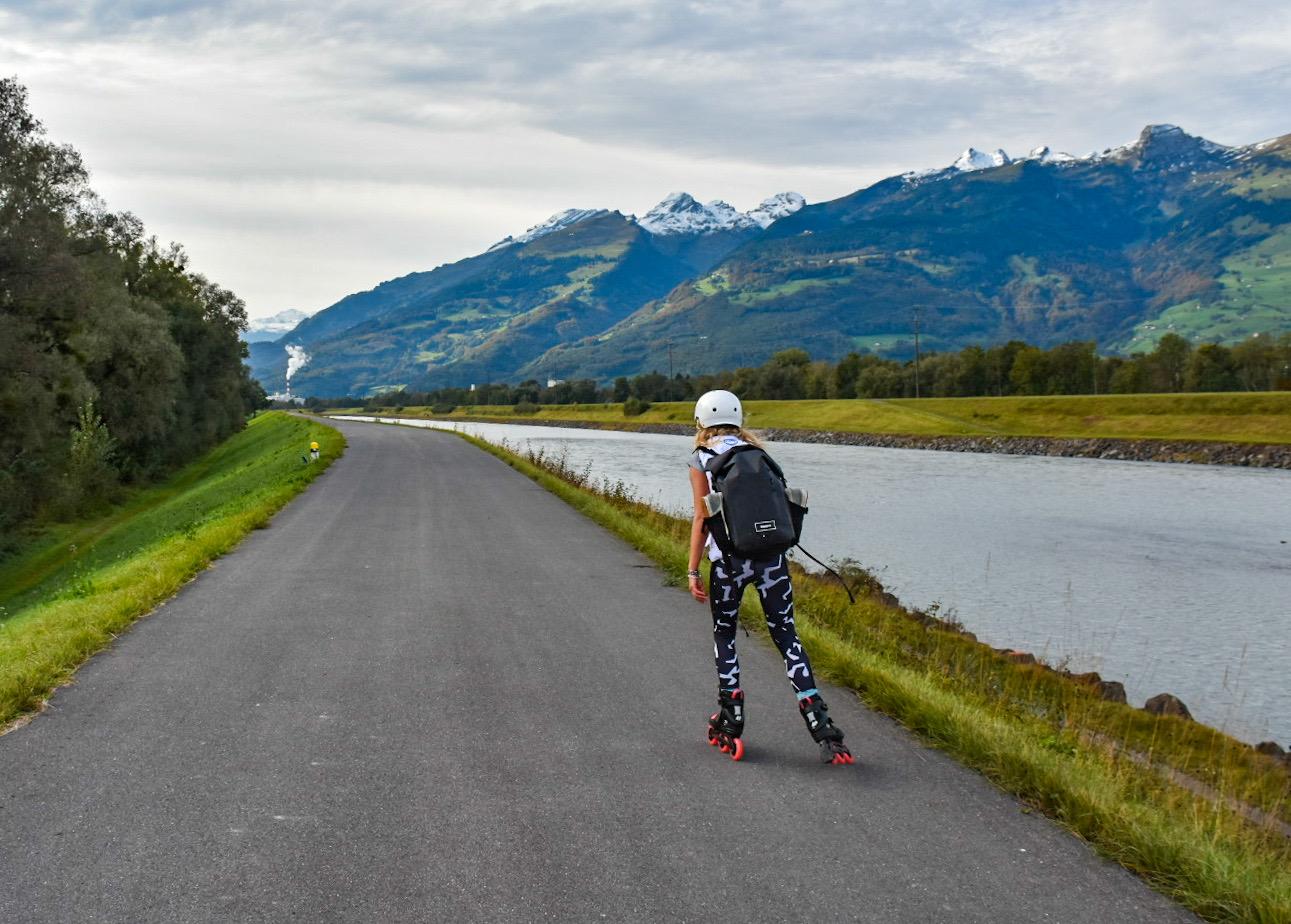 Roller blading across Lichtenstein