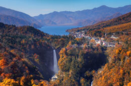 Landscape scene of Kegon waterfall with autumn season with the Chuzenji lake at Nikko, Japan. travel and sightseeing concept