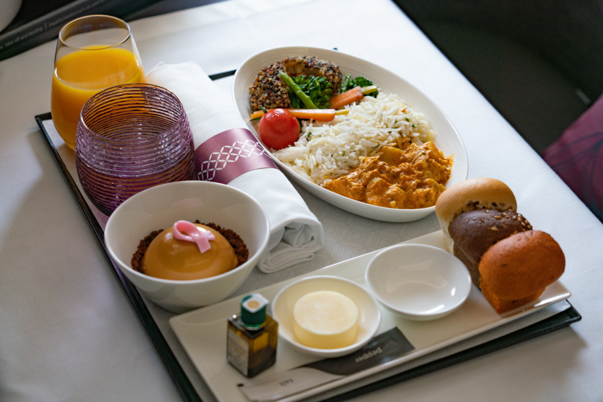 Qatar Airways vegan meal