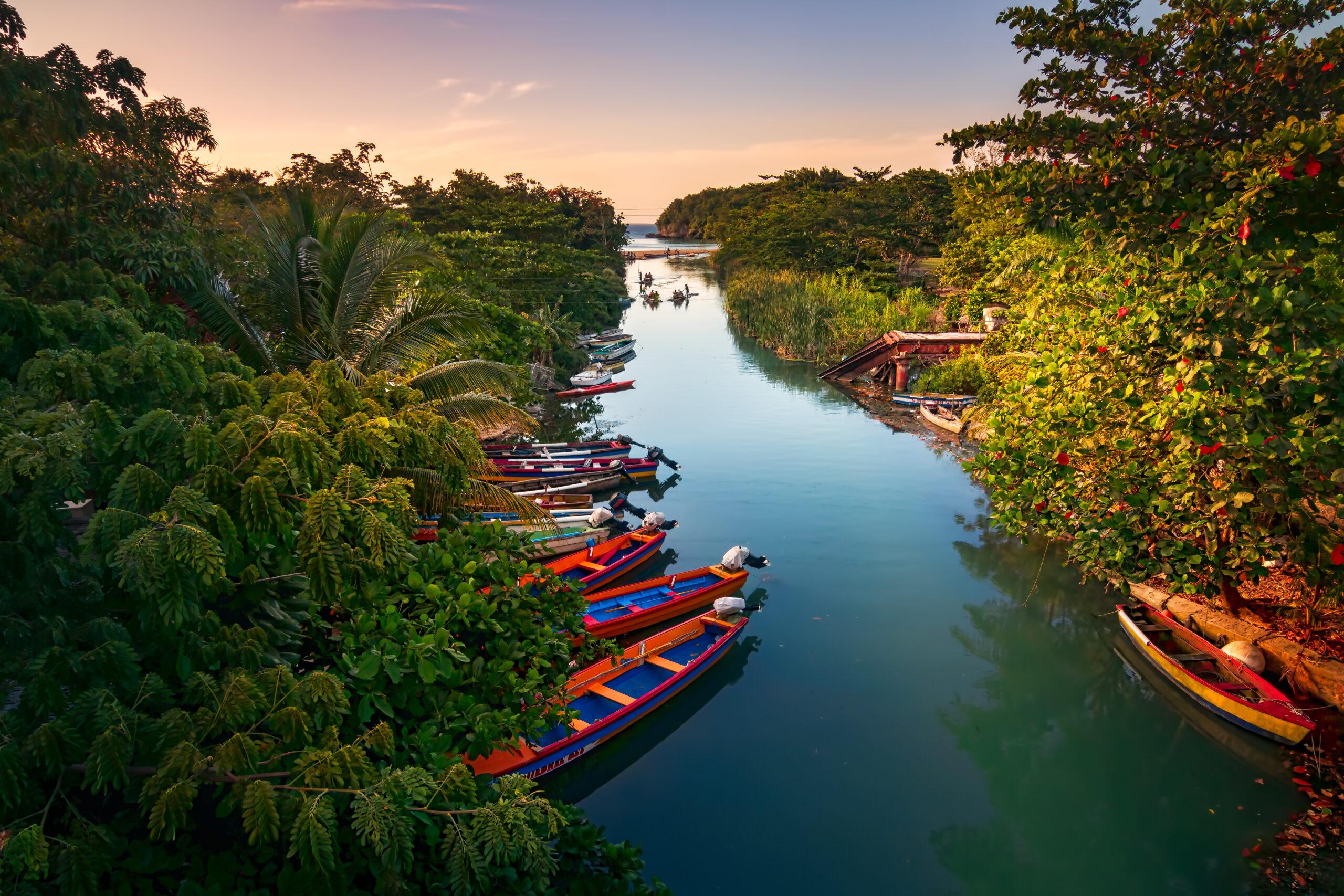Fishermen boats docked on the White River in St Ann, Jamaica.