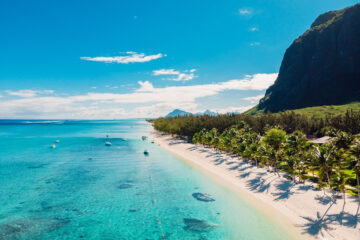 Luxury beach with mountain in Mauritius.