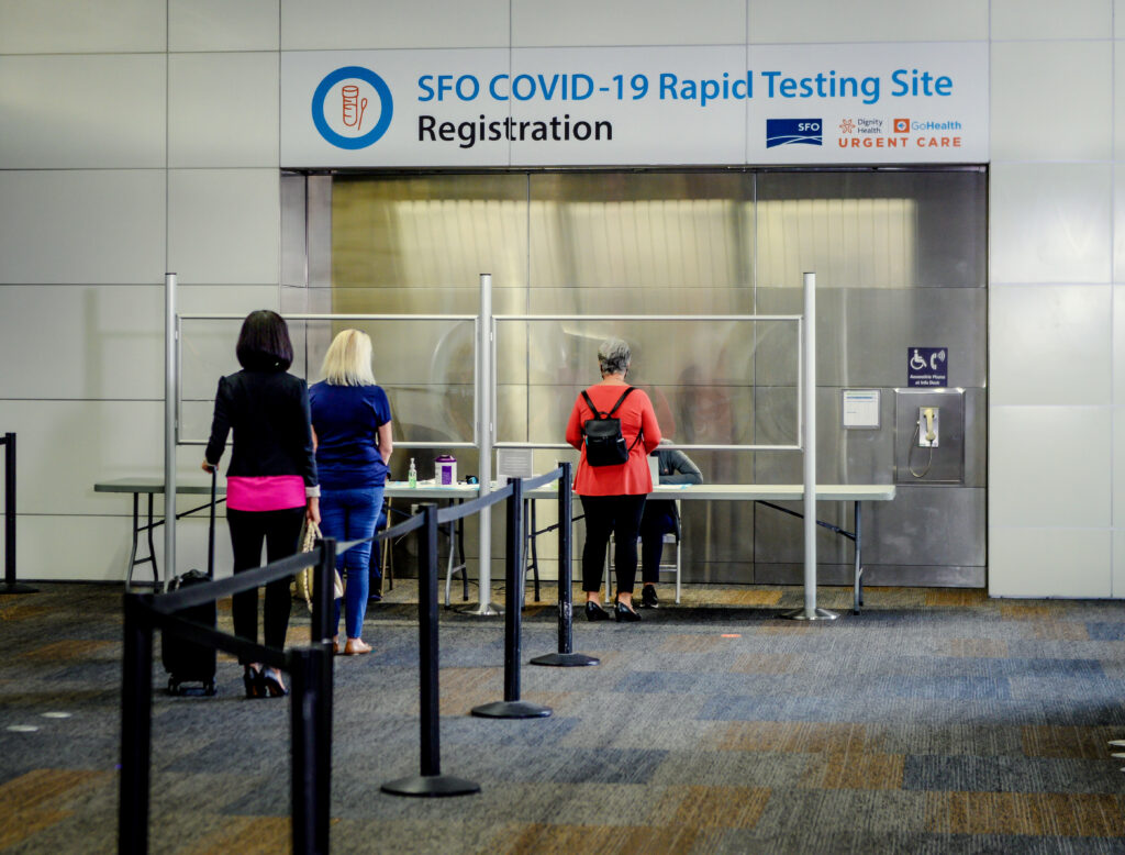 Covid-19 test centre at Newark Airport