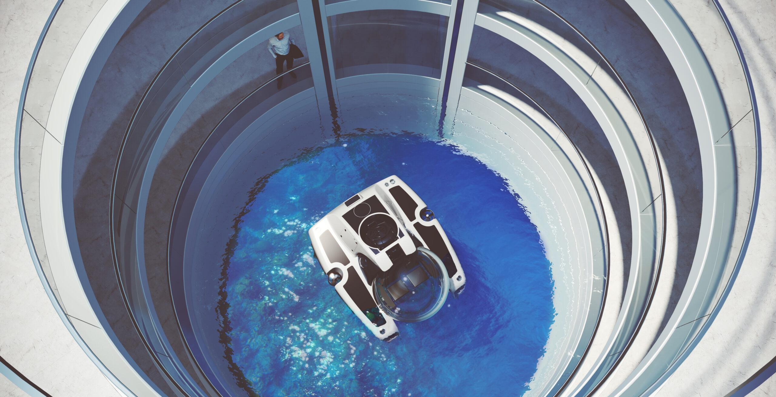 Feadship Escape yacht atrium submarine