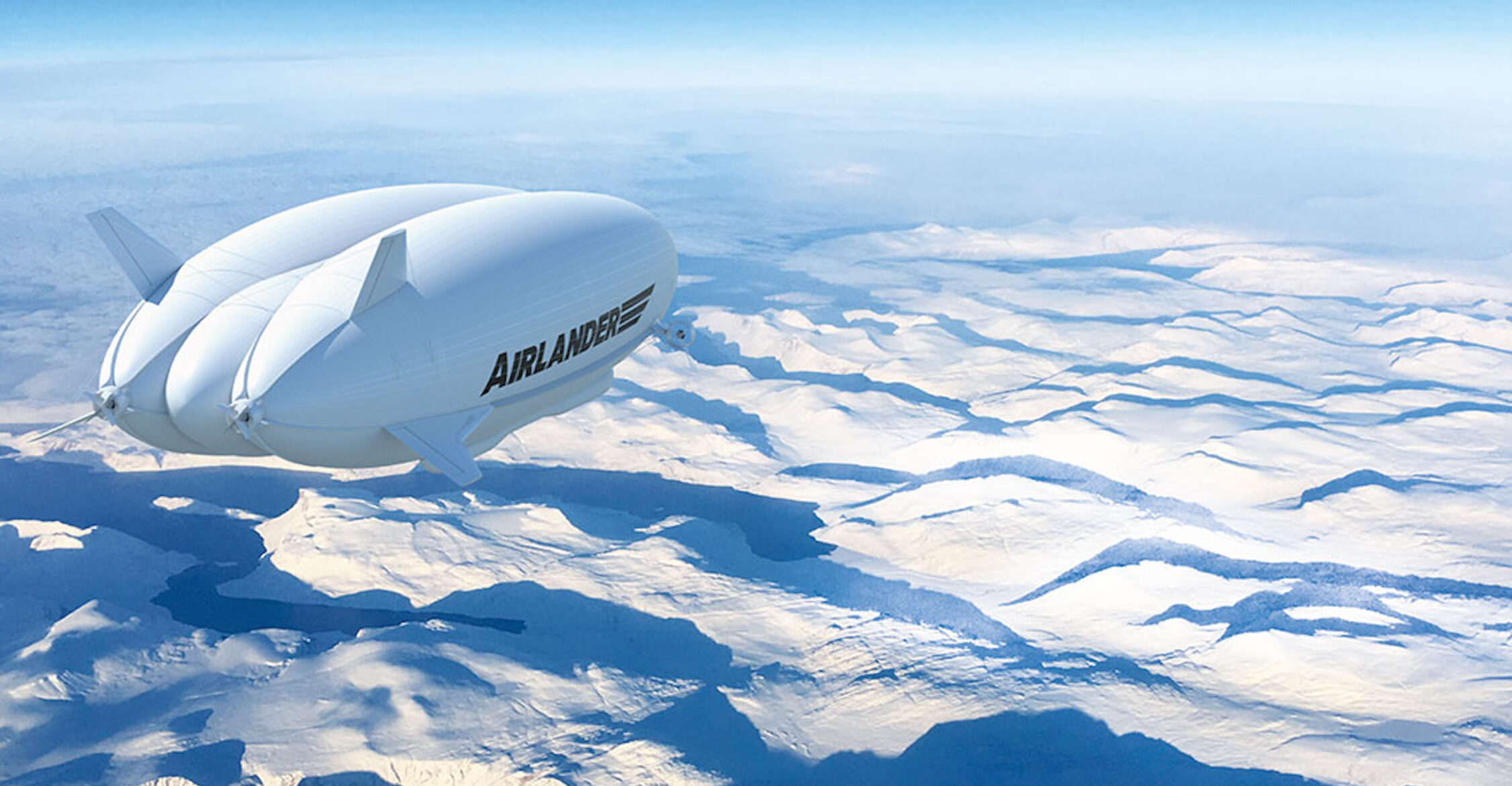 Airlander flying above snow