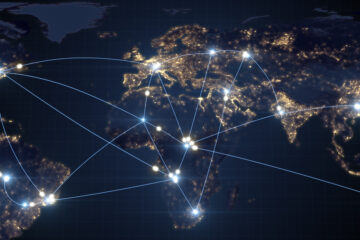 Flight routes across the world