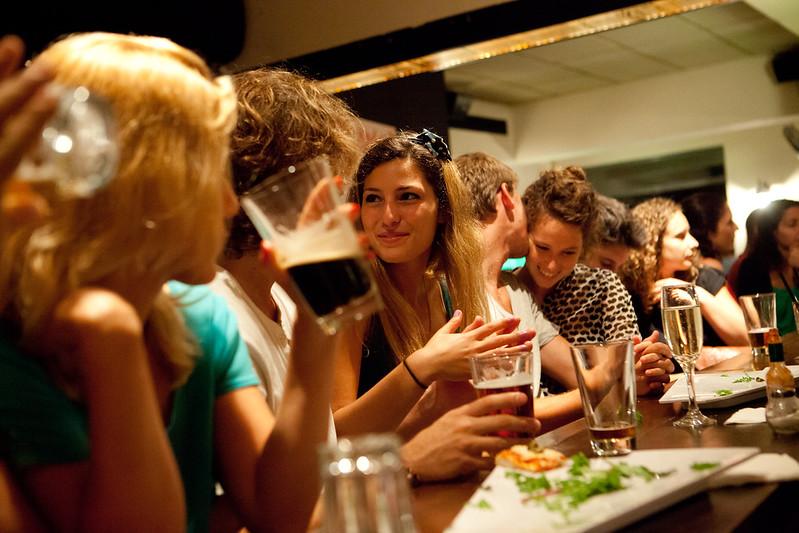 Punters drinking in Tel Aviv