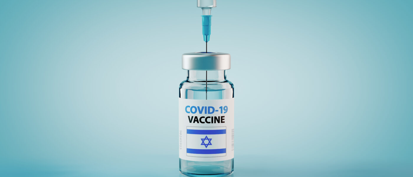 COVID-19 Coronavirus Vaccine and Syringe with flag of Israel Concept Image