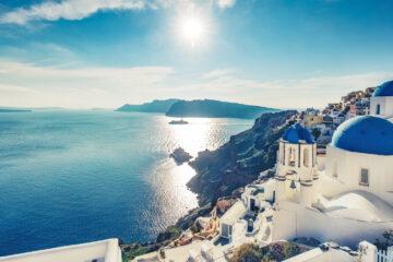 Churches in Oia, Santorini island in Greece