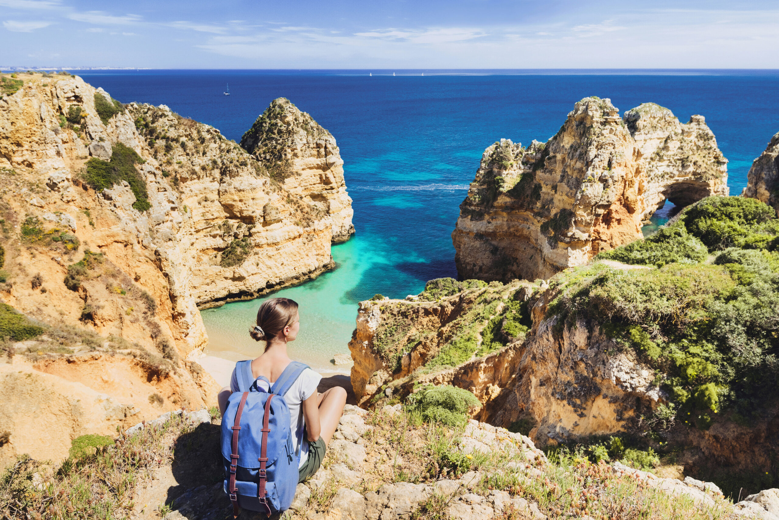 Backpacker in The Algarve, Portugal