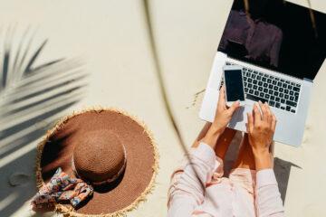 Digital nomad on beach