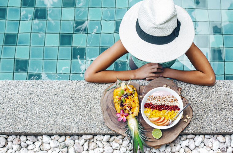Vegan poolside dining