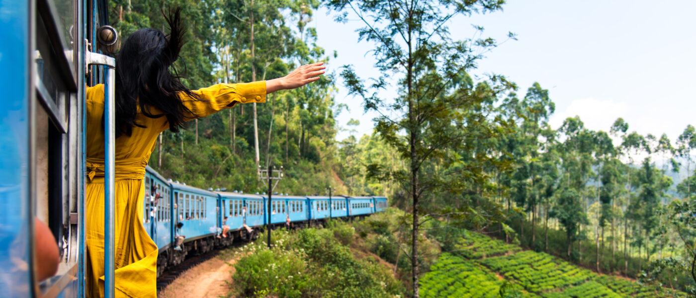 Train ride through Sri Lanka tea plantations