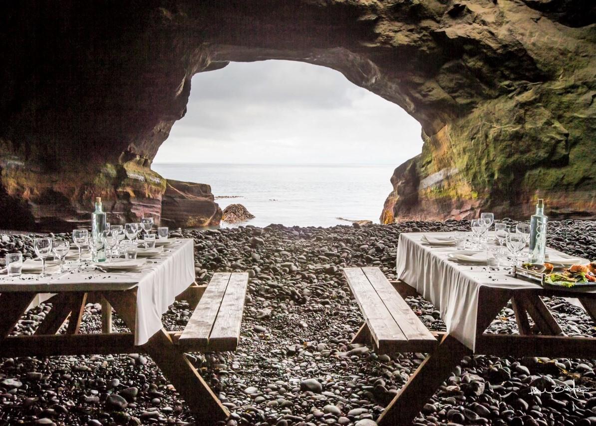 Iceland cave picnic, Black Tomato