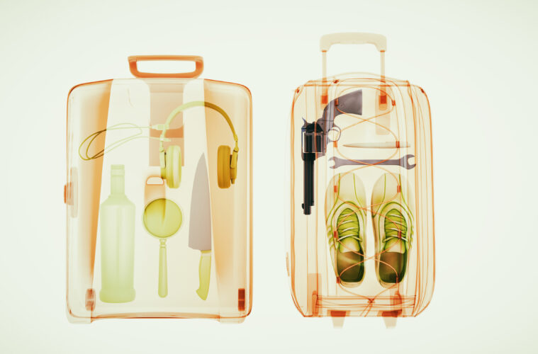 Baggage through the Xray machine to ensure safety.