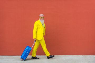 Stylish senior traveller