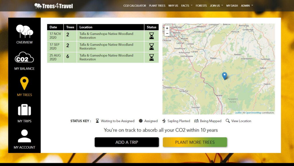 Trees4Travel forest location dashboard