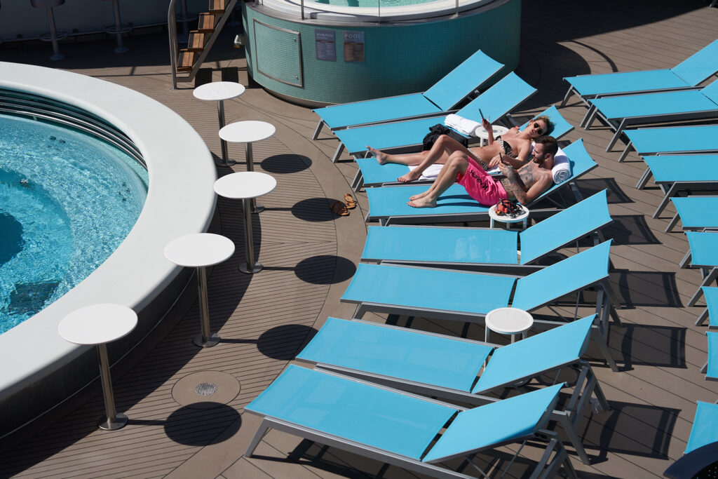 Poolside seating at the Well-being pool.