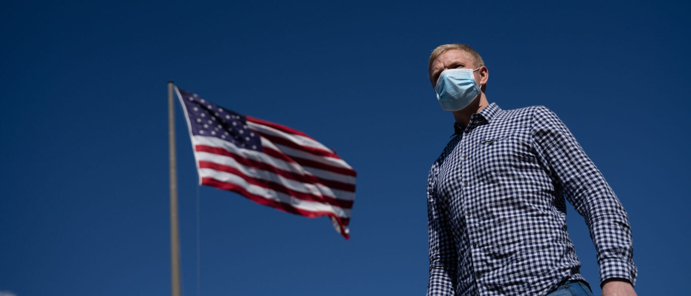 American in a mask