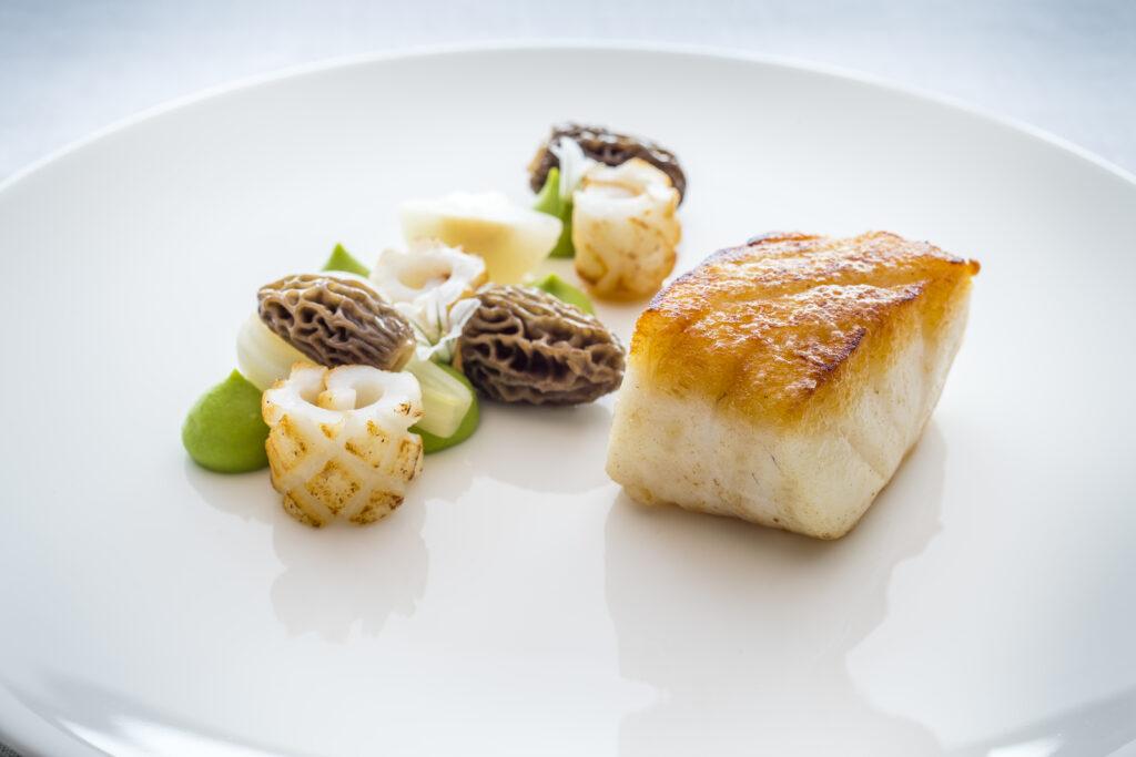 Newlyn cod, new seasons garlic, Turkish morels, line caught squid